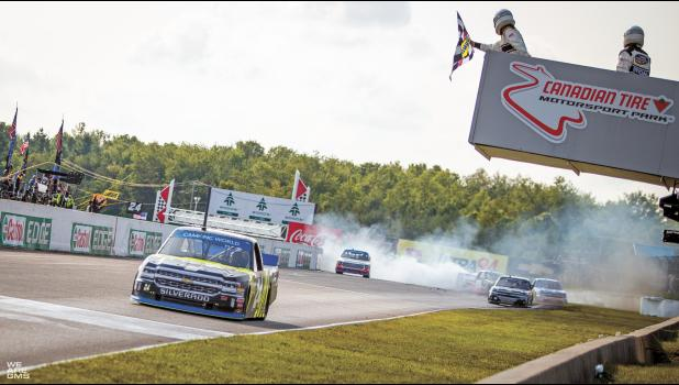 With seconds to the finish line, front-runner Noah Gragson spun teammate Todd Gilliland out, allowing Haley to sneak through the debris clean to take the checkered flag in the first playoff race of the NASCAR Camping World Truck Series. (Photo courtesy Justin Whapham/GMS Racing)