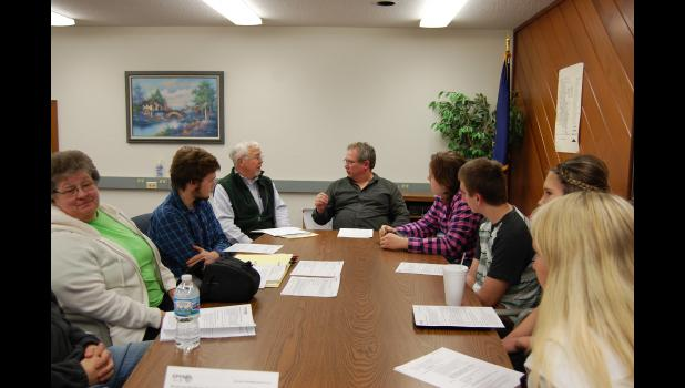 Members of the Winamac Tree Committee recently met to discuss a tree planting event on April 30. Pictured are Judy Heater, Will Kiefer, Fred Zahrt, Winamac Town Manager Brad Zellers, Sam Hinkle, Torrin Garbison, Rachel Ploss and Peyton Newman. Photo Submitted