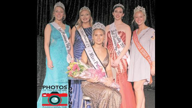 Rachel Ploss is having a winning time at the fair this year as she was named the 2018 Miss Pulaski County Queen Sunday evening. She was surrounded by first runner-up Regan Culp, 2017 Miss Pulaski County Maddie Ruff, second runner-up Erica Gualajara, and 2018 Miss Indiana State Fair Audrey Campbell.