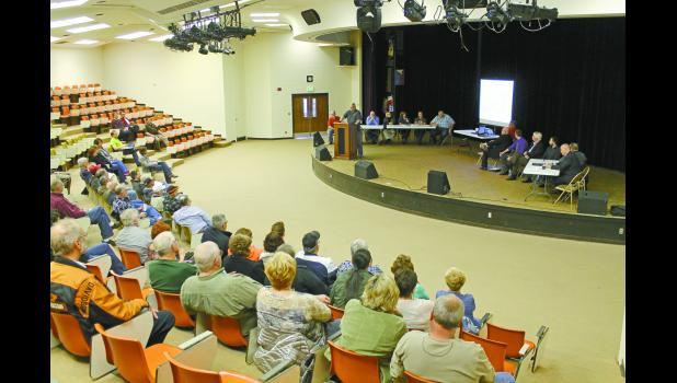 Pulaski County Commissioners and County Council gathered at an informational meeting about the renovation and addition to the courthouse Monday evening.