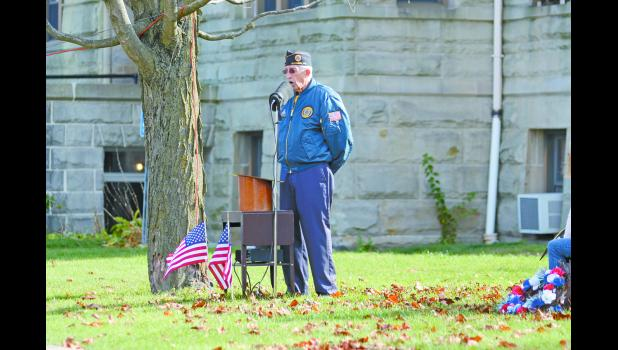 Ken McFarland, representing the American Legion, was the master of ceremonies during the Veterans Day ceremony on Nov. 11, 2015.