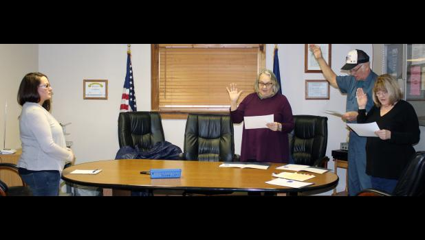 Medaryville Town Council members Suzanna Wilcoxon, Raymond Saltsman Sr. and Judy Harwood took oath of office on Jan. 3, during a special meeting. The officiating of oath of office was led by clerk-treasurer Stacy Conley.