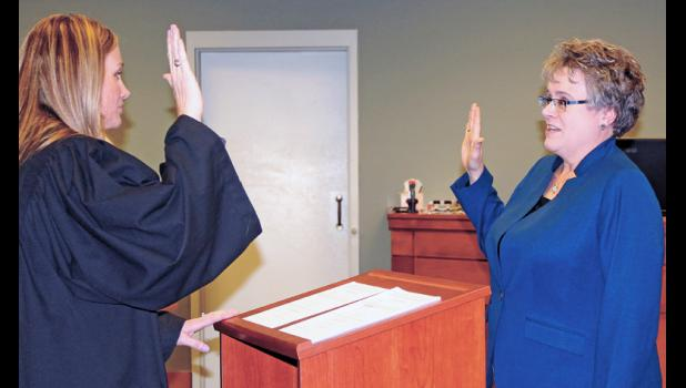 Pulaski Superior Court Judge Crystal Brucker Kocher was one of the first elected officials to be sworn in during a ceremony on Dec. 12. Brucker Kocher then swore in Pulaski Circuit Court Judge-elect Mary Welker. Current circuit court judge, Michael Shurn, is retiring.