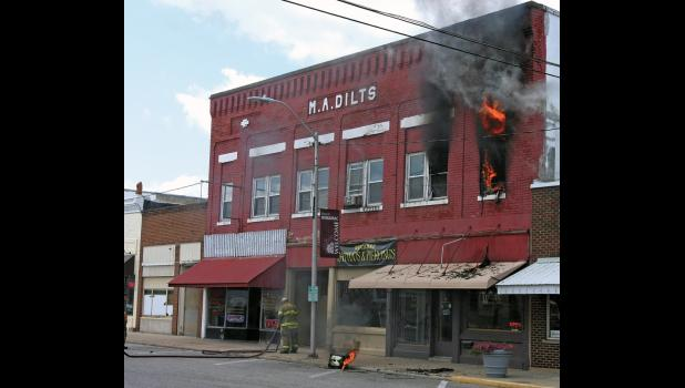 The Winamac Fire Department was called to the scene of an apartment fire in downtown Winamac Wednesday, Aug. 22.