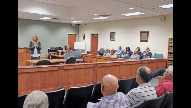 Pulaski Superior Court Judge Crystal Kocher welcomed several in the audience to the open house that was held Aug. 15.
