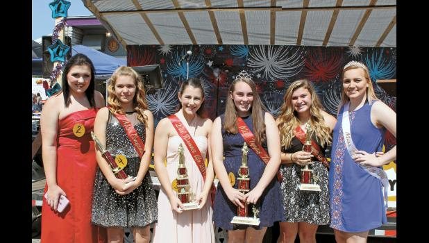 Winners of the Miss Tippy Teen Pageant were all smiles after the stress of the pageant was done. Those who participated in the pageant were Jill Zehner, Miss Congeniality Kaleigh Fritch, second runner-up Deanna Lewis, 2017 Miss Tippy Teen Olivia Gilley and first runner-up Alyssa Bailey. 2016 Miss Tippy Teen Grace Fleury congratulated the winners and helped present the awards.
