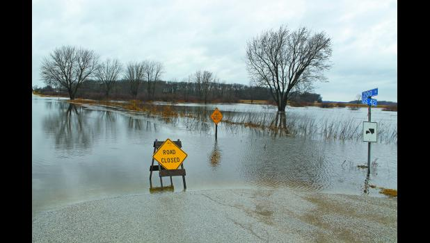 County officials began to close roads as water was pooling but not yet crested on Feb. 20. CR 200 N., west of U.S. 421 on the north edge of Medaryville, was one of the first roads to be closed in the county because of the rain.