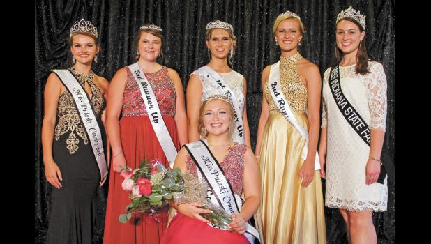 2016 Miss Pulaski County Jessica Wagner and 2017 Miss Indiana State Fair Beccca Lax congratulated the 2017 Miss Pulaski County Queen winners who are third runner-up Addison Roudebush, first runner-up and Miss People's Choice Rachel Ploss, second runner-up Sara Bailey and Miss Pulaski County and Miss Congeniality Maddie Ruff.