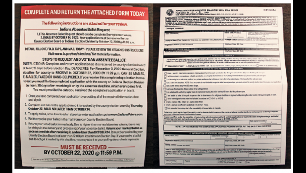 The mass mailing included two applications for absentee ballots by mail.