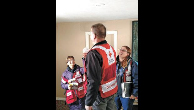 American Red Cross Volunteers teamed with local volunteers to install smoke alarms in Winamac homes on Jan. 26. Although the temperatures were biting cold, crews had a pleasant day of meeting people and educating them on the importance of a working fire alarm.