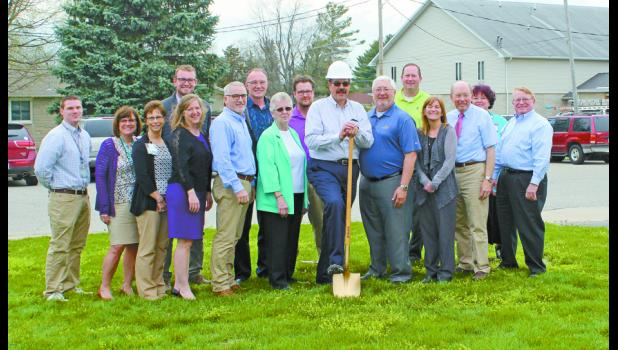 Those who attended a ground-breaking ceremony on April 10 were Bryson Minix, Sherry Jorczak, Linda Webb, Valerie Leman, Mark Wuethrich, Cheryl Scheffer, Dr. Charles Hutton, DDS, Courtney Poor, Julie Girton, Dr. Rex Allman, MD, hospital CEO Tom Barry, Jeff Boer, Mark Boer, Tim Gearhart, Gregg Malott and Rana Berkshire.