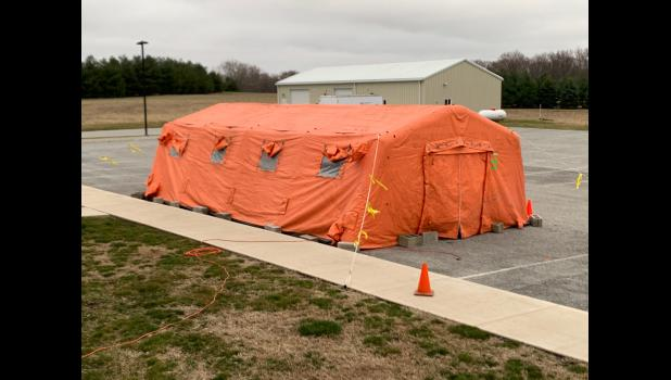 Pulaski Memorial Hospital installed a tent as part of their emergency preparedness planning. The tent can be used for different scenarios.